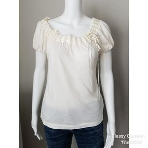 The Limited Cream wide neck ribbon top